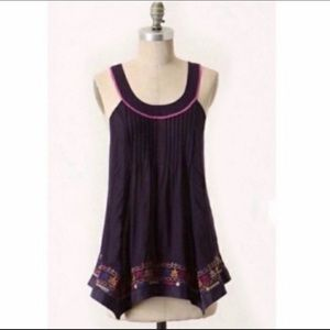 Anthro Floreat embroidered Trapeze Swing Top